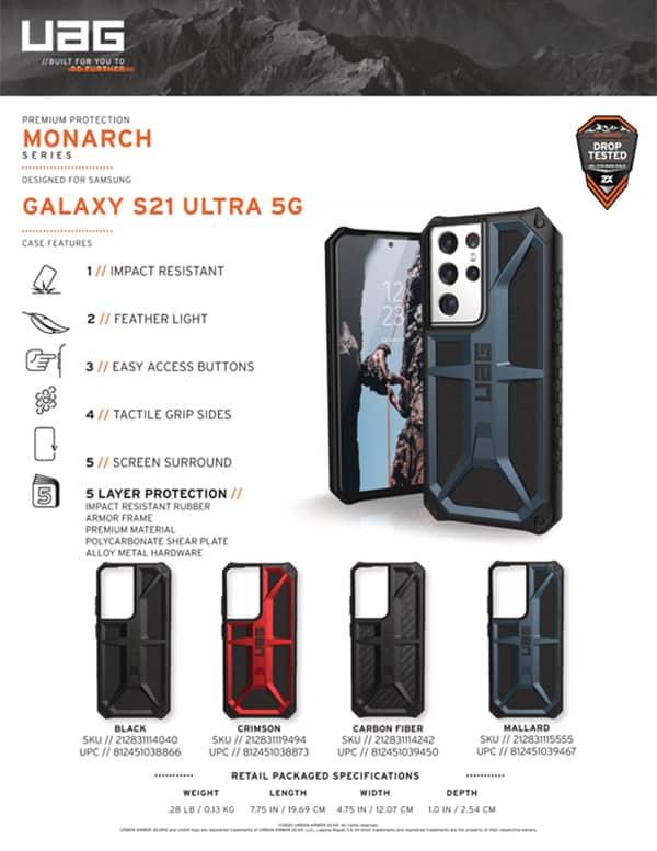 Op lung Samsung Galaxy S21 Ultra 5G UAG Monarch Series 22 bengovn
