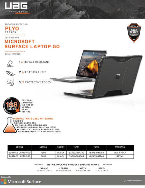 Vo op bao ve Microsoft Surface Laptop Go 12 4 UAG Plyo Series 12 bengovn