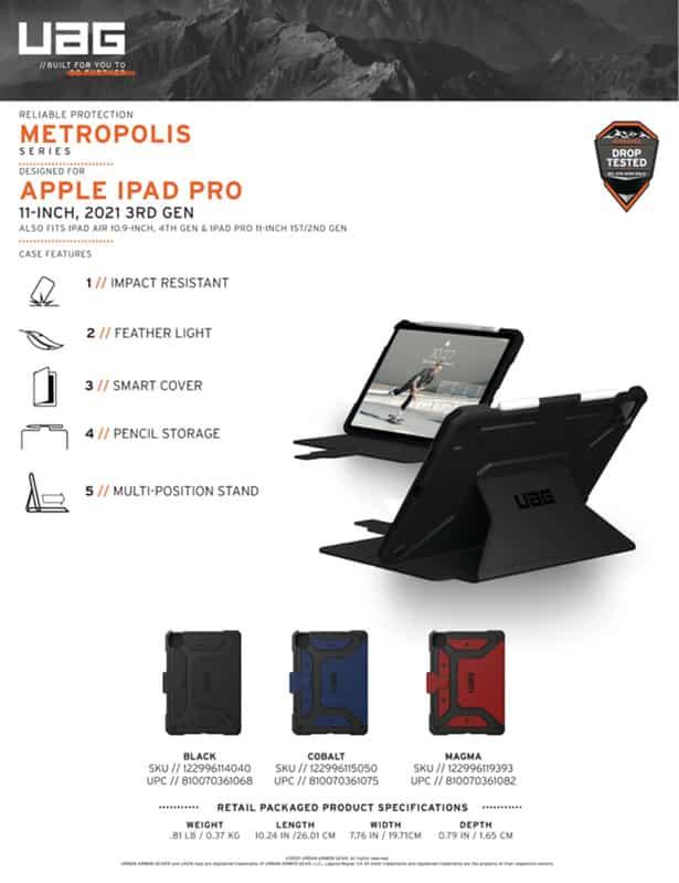 Bao da iPad Pro 11 M1 2021 UAG Metropolis 33 bengovn
