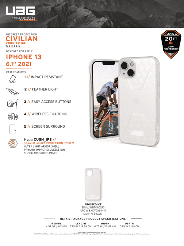 Op lung iPhone 13 UAG Civilian Frosted Ice Series 10 bengovn 2