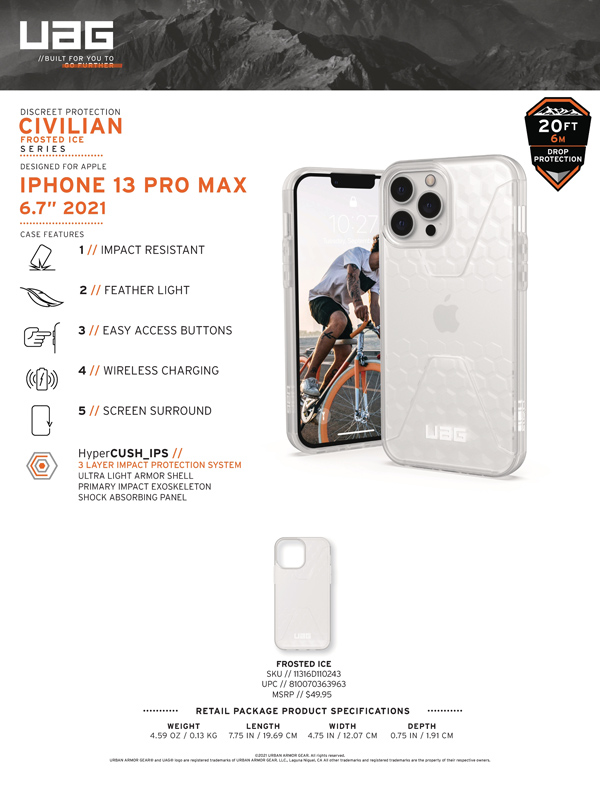 Op lung iPhone 13 UAG Civilian Frosted Ice Series 10 bengovn